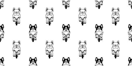 dog seamless pattern french bulldog vector bicycle cycling cartoon repeat wallpaper tile background scarf isolated illustration design