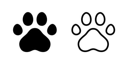 dog paw vector footprint icon logo french bulldog cat character cartoon symbol illustration doodle design