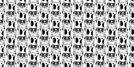 dog seamless pattern french bulldog vector carpet rug cartoon tile background repeat wallpaper scarf isolated doodle illustration design Illustration