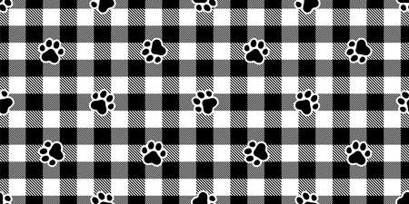 dog paw seamless pattern footprint cat checked tartan plaid french bulldog vector cartoon repeat wallpaper scarf isolated tile background illustration doodle design