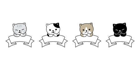 cat vector kitten calico banner icon pet bakery character cartoon symbol scarf doodle illustration design