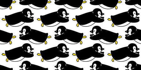 penguin Seamless pattern bird vector swimming cartoon scarf isolated tile background repeat wallpaper illustration doodle design