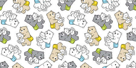 bear seamless pattern polar vector cat kitten repeat wallpaper teddy scarf isolated cartoon tile background doodle illustration design Illustration