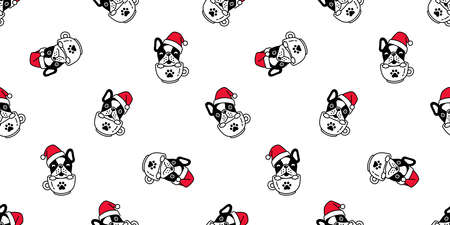 dog seamless pattern Christmas french bulldog Santa Claus hat vector coffee cup paw footprint cartoon tile background repeat wallpaper scarf isolated illustration design Illustration