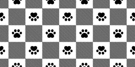 dog paw seamless pattern footprint checked cat french bulldog vector pet puppy cartoon repeat wallpaper tile background scarf isolated illustration doodle design