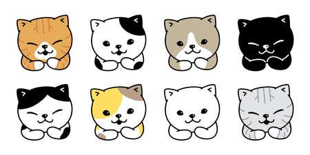 cat vector kitten calico icon pet cartoon character symbol scarf illustration doodle design