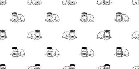 cat seamless pattern kitten calico bottle vector pet scarf isolated repeat background cartoon animal tile wallpaper illustration doodle design