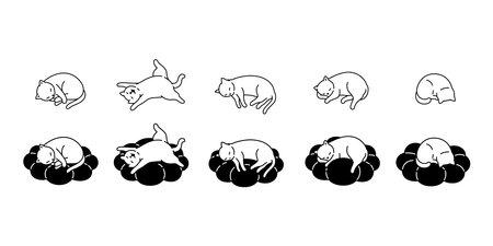 cat vector kitten calico icon sleep cloud pet cartoon character symbol scarf illustration doodle design