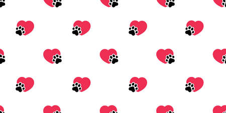 dog paw heart seamless pattern valentine footprint vector cartoon tile background scarf isolated repeat wallpaper doodle illustration design Illustration