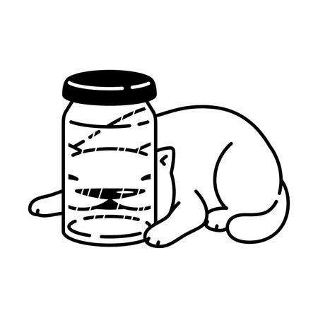 cat vector kitten calico icon bottle pet cartoon character symbol scarf illustration doodle design