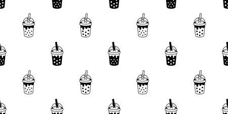 Boba tea seamless pattern vector bubble milk tea tile background scarf isolated repeat wallpaper doodle illustration design