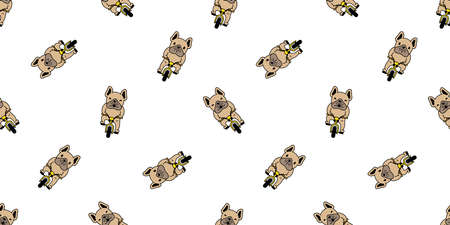 dog seamless pattern french bulldog vector bicycle cycling cartoon repeat wallpaper tile background scarf isolated illustration brown design