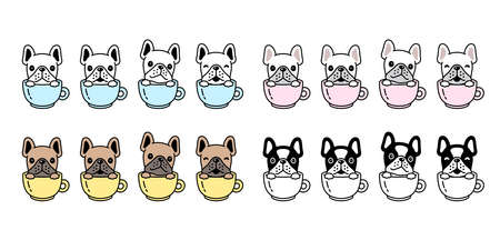 dog vector french bulldog icon coffee cup puppy pet paw character cartoon symbol scarf illustration doodle design