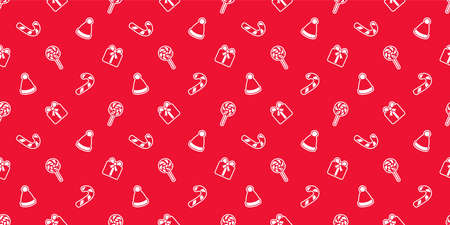 christmas seamless pattern gift candy cane santa claus vector cartoon repeat wallpaper tile background scarf isolated illustration doodle design Illustration
