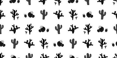 cactus seamless pattern vector Desert botanica flower plant garden cartoon tile wallpaper doodle repeat background scarf isolated illustration design Illustration