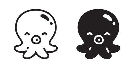 Octopus vector icon fish salmon tuna cartoon symbol illustration design Illustration