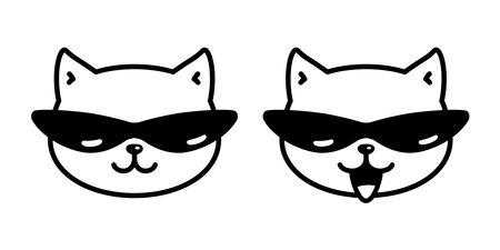 cat vector kitten sunglasses calico icon pet cartoon character symbol scarf illustration doodle design