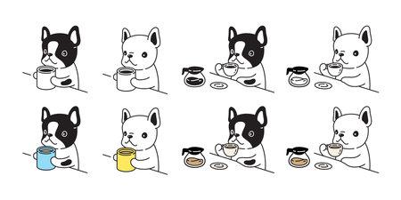 dog vector. french bulldog icon coffee tea pet cartoon character symbol scarf illustration doodle design. Illustration