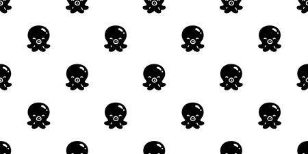octopus Seamless pattern. isolated illustration doodle black design.