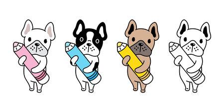 Dog vector. french bulldog icon holding pencil color pen