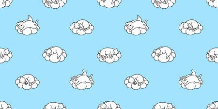 cat seamless pattern kitten sleeping cloud