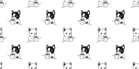 dog seamless pattern. french bulldog and coffee tea pot cartoon tile background. Illustration