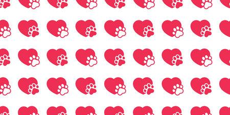 dog paw heart seamless pattern illustration design