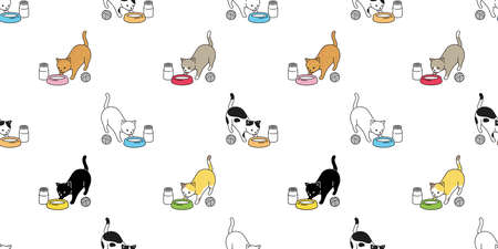 cat seamless pattern food bowl kitten calico vector pet milk scarf isolated repeat background cartoon animal tile wallpaper doodle illustration design Vector Illustration