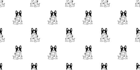 dog cat french bulldog seamless pattern vector kitten calico cartoon tile background repeat wallpaper scarf isolated illustration design