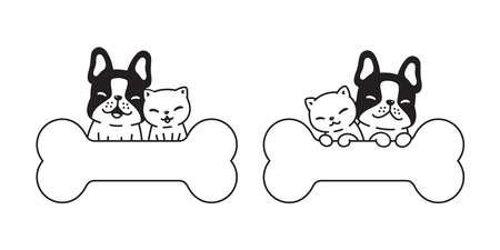 dog cat french bulldog vector icon bone logo kitten calico pet cartoon character symbol illustration doodle design