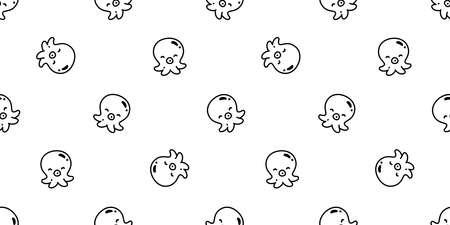 octopus Seamless pattern fish vector salmon tuna shark dolphin doodle icon cartoon ocean sea pet animal repeat wallpaper tile background scarf isolated illustration doodle design
