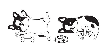 dog french bulldog vector bone food bowl sleeping icon pet cartoon character symbol scarf illustration doodle design