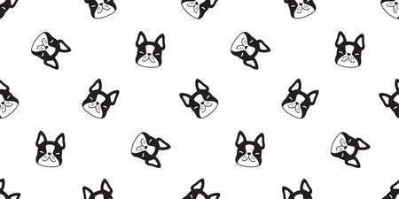 dog seamless pattern french bulldog vector face head cartoon icon repeat wallpaper tile background scarf isolated illustration design