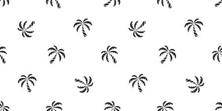 palm tree seamless pattern coconut tree vector island tropical summer ocean beach scarf isolated tile background repeat wallpaper cartoon white illustration doodle design