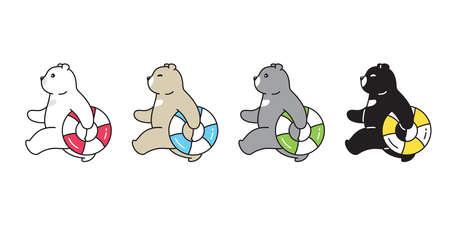 Bear vector polar bear swimming ring pool icon logo beach summer ocean teddy cartoon character doodle symbol illustration design