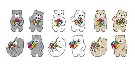 Bear vector polar bear rubik cube icon logo teddy cartoon character puzzle game symbol illustration doodle design