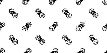yarn ball seamless pattern vector balls of yarn knitting needles toy repeat wallpaper tile background cartoon isolated illustration design 일러스트