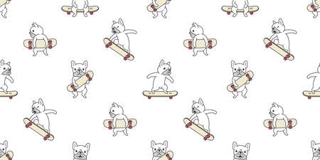 dog seamless pattern french bulldog skateboard vector surf skate cartoon scarf isolated tile wallpaper repeat background illustration gift wrap paper white design
