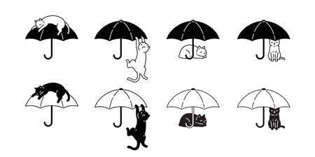 cat vector umbrella kitten calico icon logo pet breed cartoon character rain symbol doodle illustration design