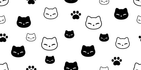 cat seamless pattern kitten paw footprint head calico vector pet scarf isolated repeat background cartoon animal tile wallpaper illustration doodle design