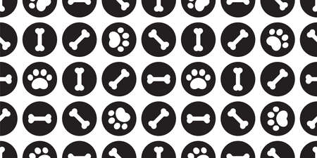 dog bone seamless pattern paw footprint polka dot french bulldog puppy vector pet cartoon repeat wallpaper tile background scarf isolated doodle illustration design