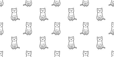 cat seamless pattern kitten calico vector pet scarf isolated cartoon animal repeat background tile wallpaper illustration doodle design