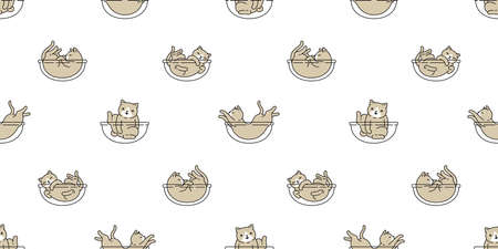 cat seamless pattern kitten calico breed vector pet scarf isolated cartoon animal repeat wallpaper tile background illustration doodle design 向量圖像