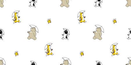 Bear cat dog seamless pattern french bulldog duck polar bear umbrella vector cartoon repeat background tile wallpaper illustration doodle design
