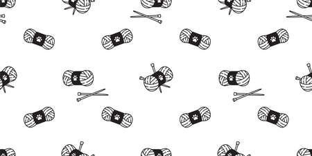 yarn ball seamless pattern vector balls of yarn knitting needles toy repeat wallpaper tile background cartoon illustration design 向量圖像