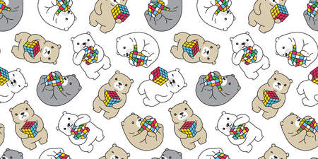 Bear seamless pattern polar bear cube puzzle vector scarf isolated cartoon tile wallpaper repeat background illustration doodle design