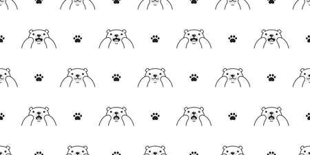 Bear seamless pattern polar bear paw vector footprint  breed cartoon repeat background tile wallpaper illustration design