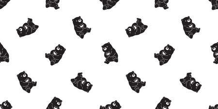Bear seamless pattern polar bear vector sitting breed scarf isolated cartoon repeat background tile wallpaper illustration black design