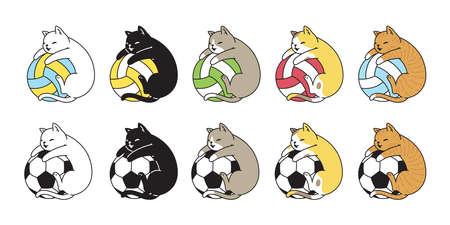 cat vector football volleyball soccer kitten calico icon logo pet breed cartoon character sport doodle symbol illustration design