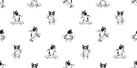 dog seamless pattern french bulldog skateboard vector surf skate cartoon scarf isolated tile wallpaper repeat background illustration gift wrap paper design